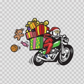 Motorcycle Santa Claus Carrying Presents 22271