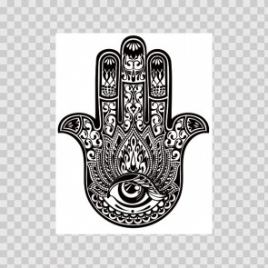 Black And White Fatima Hamsa Hand Good Luck Palm 22616