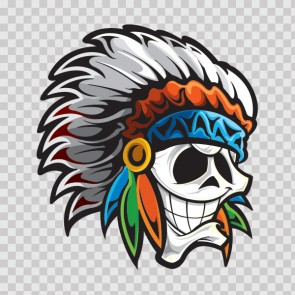 Smiling Skull Native Chief With Feathered Hat 22722