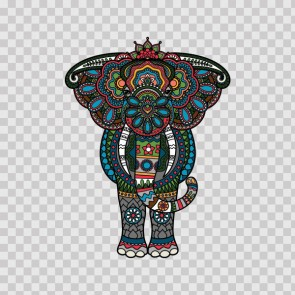 Colorful Ethnic Pattern Elephant Head Feng Shui Good Luck 22738