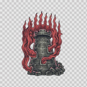 Castle Tower Flaming Tattoo Style 22998