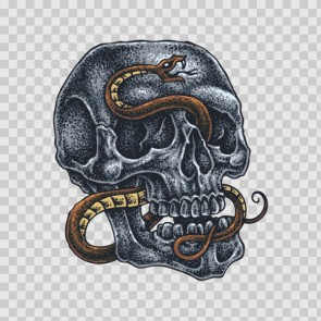 Skull With Snake  Tattoo Style 23001