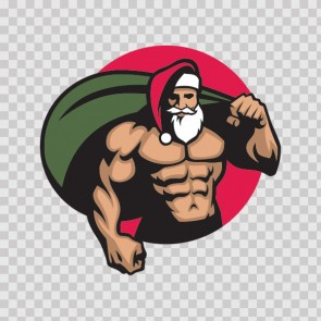 Body Builder Santa Claus Carrying Presents 23182