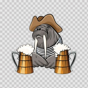 Pirate Elephant Sea Drinking Beer 26525