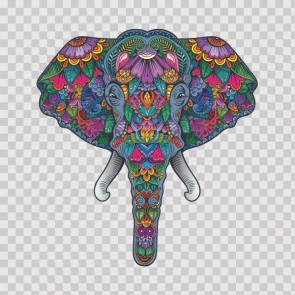 Colorful Pattern Elephant Head Feng Shui Good Luck 26566