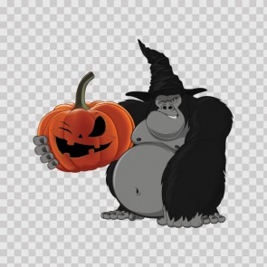 Wicked Ape Gorilla With Evil Scary Pumpkin Halloween 26687