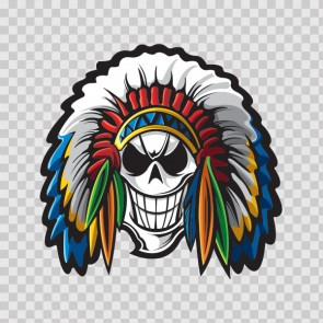 American Native Warrior Skull With Feathers 26737