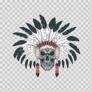 American Native Warrior Skull With Feathers 26792