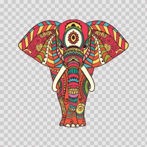 Ethnic Colored Pattern Elephant Head Feng Shui Good Luck 26809
