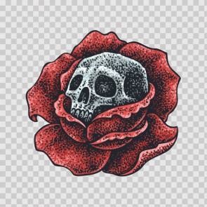 Skull On A Rose Tattoo Style 26897