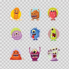 Set Of 9 Little Cartoon Monster 26917
