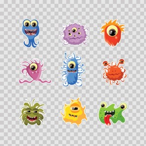 Set Of 9 Little Cartoon Monster 26918