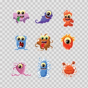 Set Of 9 Little Cartoon Monster 26919