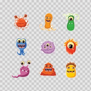 Set Of 9 Little Cartoon Monster 26921