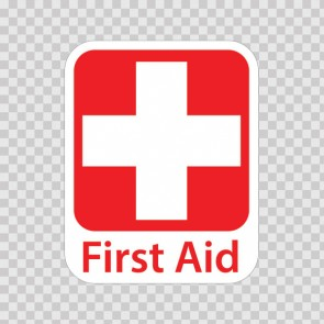 Emergency First Aid Kit Safety Sign Sticker Decal Vinyl Red Cross 80132