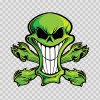 Cartoon Green Skull 02416