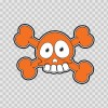 Cartoon Orange Cross Bone Skull 02419
