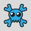 Cartoon Blue Skull 02428