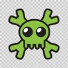 Cartoon Green Skull 02430