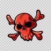 Red Crossbones Skull 02478