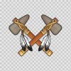 Pair Of American Native Indian Axes Crossed 05830