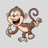 Happy Monkey With Banana 12694