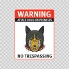 Warning Attack Dog On Premises. No Trespassing 12868