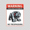 Warning Attack Dog On Premises. No Trespassing 12879