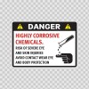 Danger Highly Corrosive Chemicals 14249