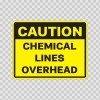 Caution Chemical Lines Overhead 14305