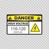 Danger High Voltage 110-120 Volts Ac 14338