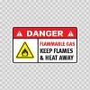 Danger Flammable Gas. Keep Flames & Heat Away. 19047