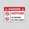 Danger Acetylene. No Smoking. No Open Flames. 19049