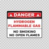 Danger Hydrogen Flammable Gas No Smoking No Open Flame 19093